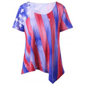 Plus Size American Flag Asymmetrical Tee - Blue And Red - 4xl