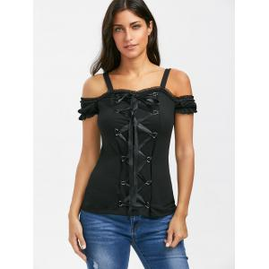Lace Up Ruffle Trim T-Shirt - BLACK XL