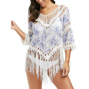 Print Crochet Panel Tunic Cover Up with Tassel