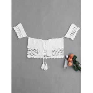Crochet Off The Shoulder Swim Top - WHITE ONE SIZE