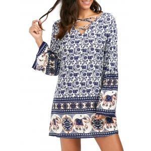 Lace-Up Flare Sleeve Print Dress - Blue - Xl