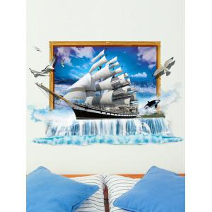 3D Nautical Sailboat Toilet Decorative Sticker for Wall