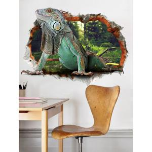 3D Lizard Animal Wall Broken Design Wall Sticker - Colormix - 50*70cm