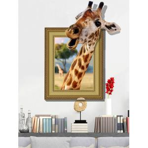 3D Giraffe Vinyl Wall Art Sticker Home Decoration - Light Brown - 60*90cm