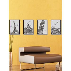 Building Hand Drawing Photo Frame Wall Stickers