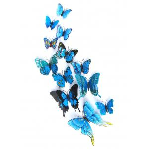 12Pcs/Set Magnet DIY 3D Butterflies PVC Wall Stickers - Blue - 35*60cm