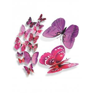 12Pcs/Set Magnet DIY 3D Butterflies PVC Wall Stickers - Purple - 60*90cm