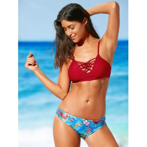 Criss-Cross Tropical Print Bikini