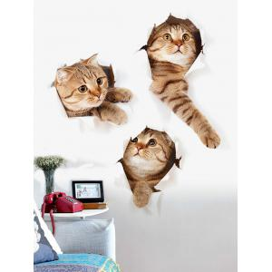 3D Naughty Pussy Cat Animal Decor Vinyl Wall Sticker - Brown - 40*60cm