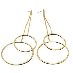 Gold Hoop Drop Earrings - Golden