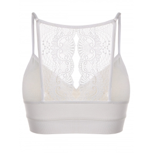 Padded Lace Insert Bra - WHITE ONE SIZE