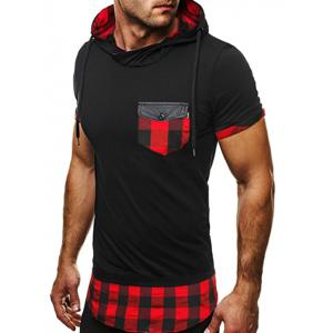 Side Zip Plaid Insert Hooded Tee