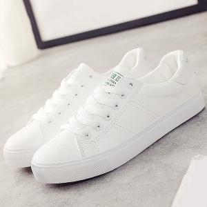 Letter Print Faux Leather Athletic Shoes - WHITE 39