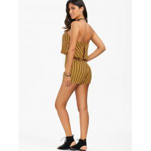 Stripe Flounce Strapless Romper - YELLOW S