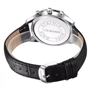 OUKESHI Faux Leather Moon Roman Numerals Watch - BLACK