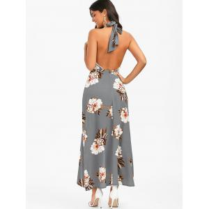 Halter Backless Floral Print Boho Swing Casual Maxi Dress - SMOKY GRAY L