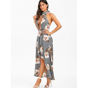 Halter Backless Floral Print Boho Swing Casual Maxi Dress - SMOKY GRAY S