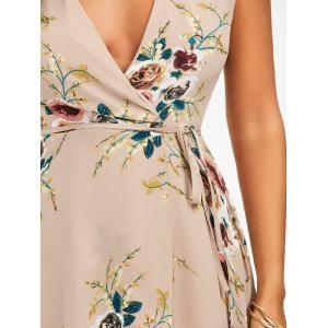 Floral Chiffon Sleeveless High Low Wrap Dress - APRICOT XL