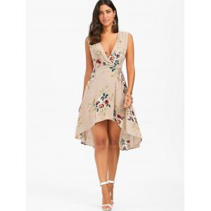 Floral Chiffon Sleeveless High Low Wrap Dress - APRICOT S