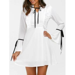 Ruffle Flare Long Sleeve Mini Skater Dress