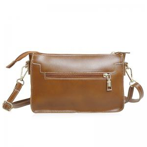 Front Zipper Pocket Crossbody Bag - Brown