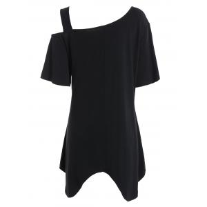 Plus Size Asymmetric Long Open Shoulder T-Shirt - BLACK XL