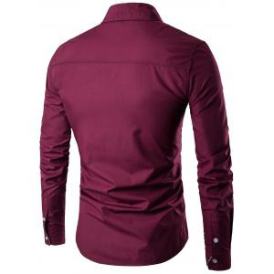 Long Sleeve Two Tone Striped Shirt - CLARET L