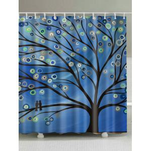 Oil Painting Tree Print Shower Curtain - Blue - W71 Inch * L79 Inch