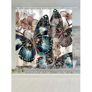 Butterfly Print Water Repellent Shower Curtain - COLORMIX W59 INCH * L71 INCH
