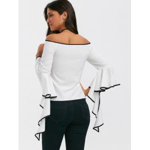 Flare Sleeve Off The Shoulder Top - WHITE XL
