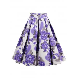 Printed High Waisted Skater Skirt - Purple - S