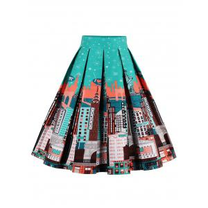 Printed High Waisted Skater Skirt - Green+orange - Xl