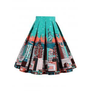 Printed High Waisted Skater Skirt - GREEN/ORANGE L