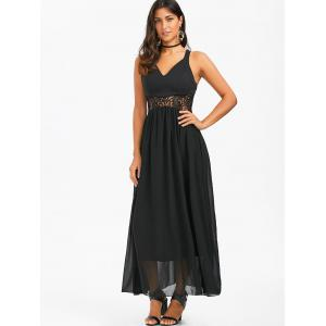 Lace Insert Chiffon Maxi Party Formal Dress - BLACK XL
