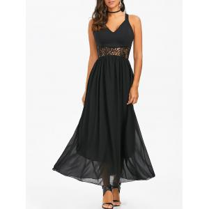 Lace Insert Chiffon Maxi Party Formal Dress - Black - Xl
