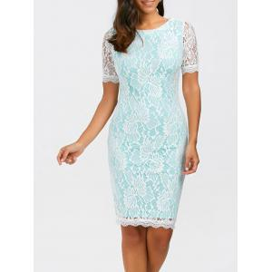 Fitted Knee Length Floral Lace Sheath Dress - Light Blue - M