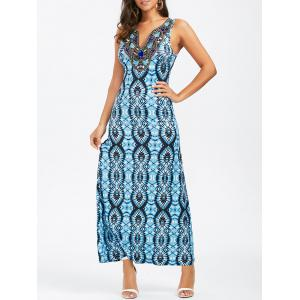 Split-Neck Embroidered Sleeveless Party Maxi Dress - Blue - L