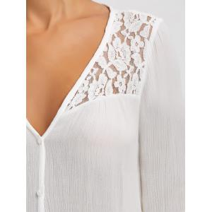 Lace Panel Button Up Blouse - WHITE 2XL