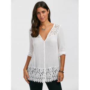 Lace Panel Button Up Blouse - WHITE XL