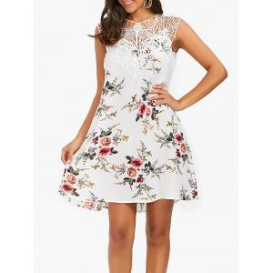 Sleeveless Cutwork Tiny Floral Dress - White - Xl