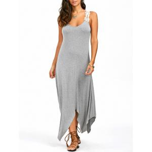 Sleeveless Lace Panel Handkerchief Long Casual Dress - Gray - Xl