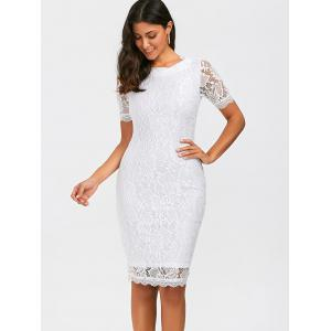 Fitted Knee Length Floral Lace Sheath Dress - WHITE L