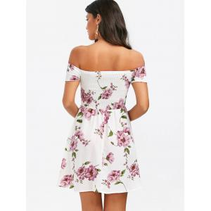 Mini Floral Off Shoulder A Line Skater Dress - WHITE L