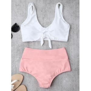 High Waisted Ruched Bikini Set - Pink - Xl