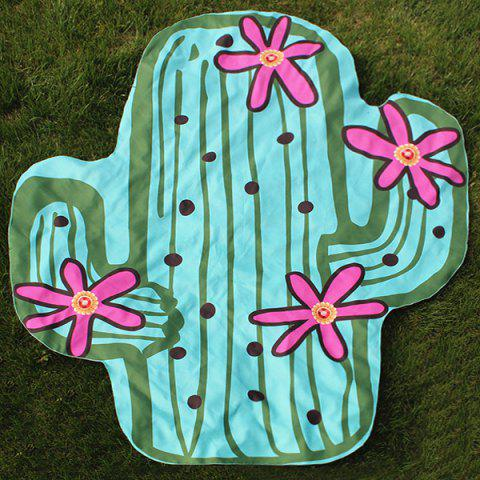 Trendy Novelty Flowering Cactus Shape Beach Throw BLUE GREEN