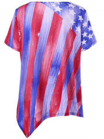 Trendy Plus Size American Flag Asymmetrical Tee - 5XL BLUE AND RED Mobile
