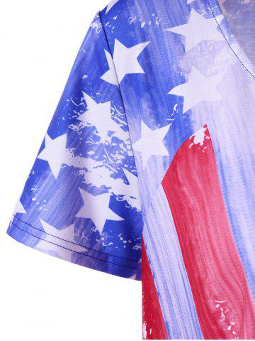 Buy Plus Size American Flag Asymmetrical Tee - 5XL BLUE AND RED Mobile