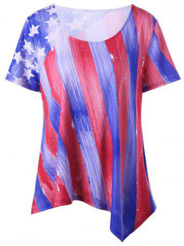 Fancy Plus Size American Flag Asymmetrical Tee - 5XL BLUE AND RED Mobile