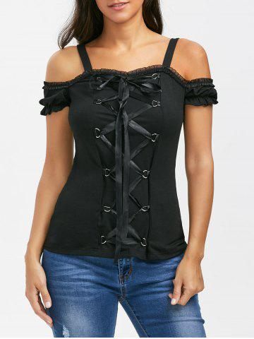 Online Lace Up Ruffle Trim T-Shirt BLACK XL