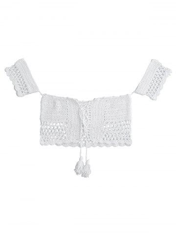 Trendy Crochet Off The Shoulder Swim Top WHITE ONE SIZE